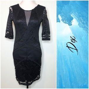 Dex Jaquered Mesh Little Black Dress S